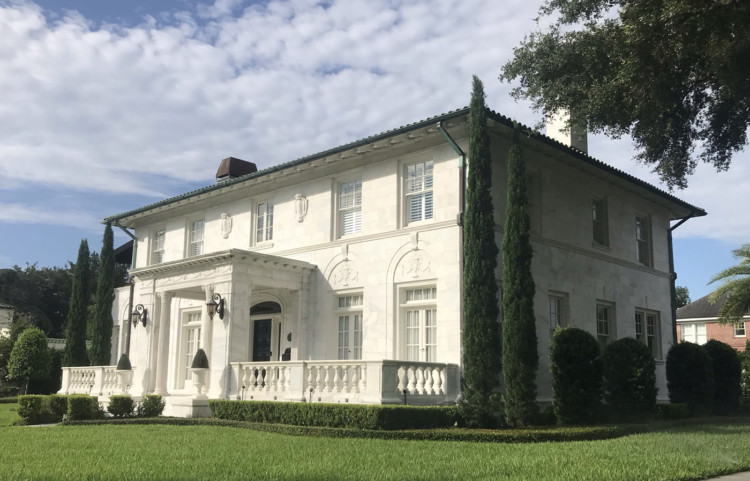 """#7 on the tour of historic homes of Riverside Avondale Park: The Marble House (Bryson Residence) - 1704 Avondale Ave. The """"Marble House"""" has been impressing people since it was completed in 1928 at a cost of over $70,000. The exterior veneer is all white marble from Georgoe. It has a Mediterranean Revival style with classical elements. Information courtesy: Jacksonville's Architectural Heritage-Landmarks for the Future."""