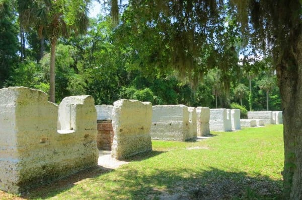 The Kingsley Plantation slave cabins are built of tabby -- a material made from cooking oyster shells in a kiln for lime and adding water and sand. The 25 buildings housed 60 to 80 enslaved men, women and children.