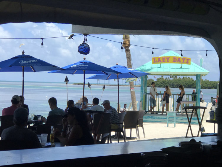 Things to do in Islamorada: Have lunch at Lazy Days and gaze at those many shades of blue.
