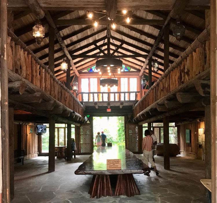 The Hall of Giants at McKee Botanical Garden was once used as a banquet room for special events where more than 100 people could be seated at the 35-foot long mahogany table. Today it holds exhibits on the history of McKee Gardens. (Photo: Bonnie Gross)