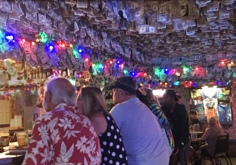 The ceiling flutters with dollar bills at No Name Pub on Big Pine Key. (Photo: Bonnie Gross)