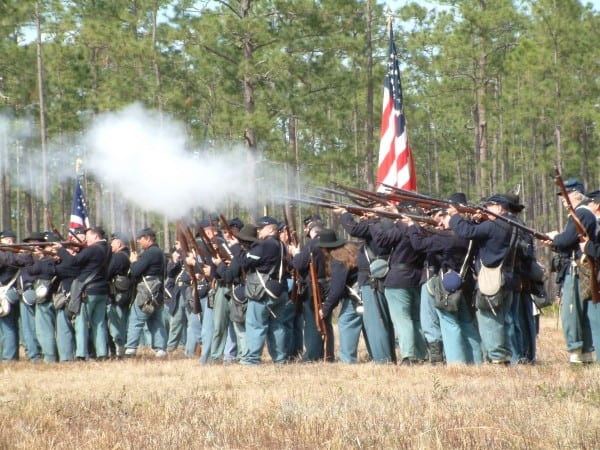 Largest Civil War re-enactment in Southeast occurs near Jacksonville at Olustee Battlefield Historic Park.