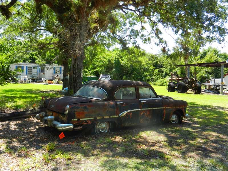 Old car Pinecrest Loop Road in Everglades