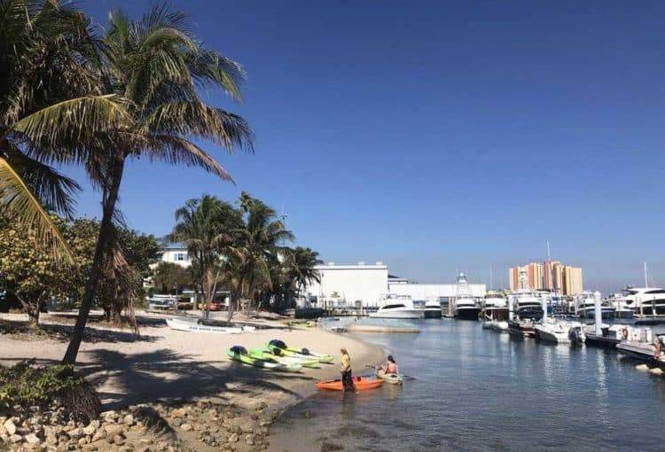 Peanut Island is an easy kayak paddle from here, the paddlecraft launch area of the Riviera Beach marina. (Photo: Bonnie Gross)