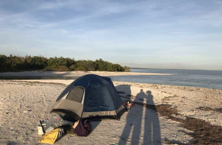 East Cape Sable: As shadows grew long, we finished setting camp on a sandy beach after our 11-mile canoe paddle from Flamingo. (Photo: Bonnie Gross)