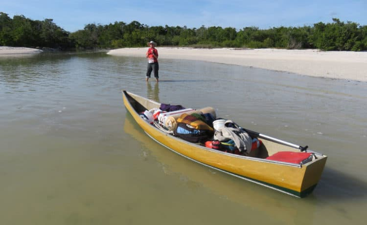 Our fully loaded canoe as we approached our campsite at East Cape Sable. (Photo: David Blasco)