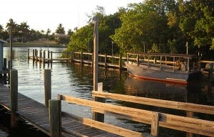 The dock at Cap's Place Island Restaurant, Lighthouse Point