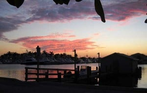 Sunset, Cap's Place, Broward County's oldest restaurant, Lighthouse Point