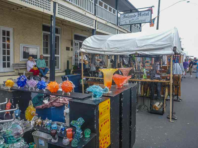 Cedar Key Art Festival: Colorful creations in front of the historic downtown hotel.