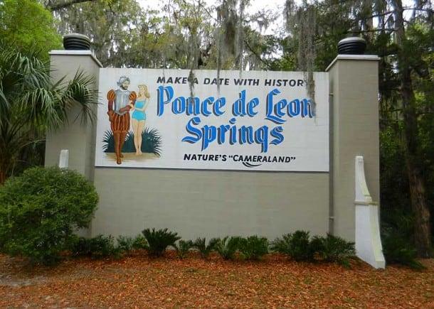 Vintage sign at Ponce De Leon Springs State Park