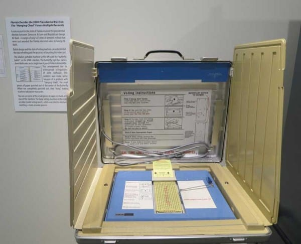 The famous Votomatic machine from the contested 2000 presidential election at the Elliott Museum, Stuart, Florida.