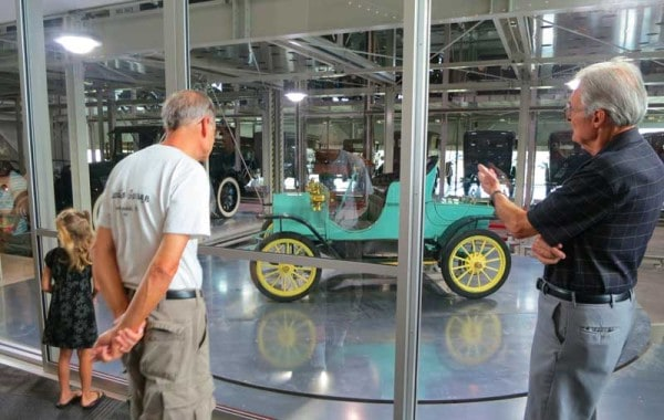 Visitors choose a car via a touch screen and a robotic system delivers it to the turntable for display at the Elliott Museum, Stuart, Florida.