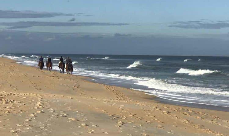 Horseback riding on Florida beaches: Riders along the empty beach in Flagler Beach. (Photo: Bonnie Gross)