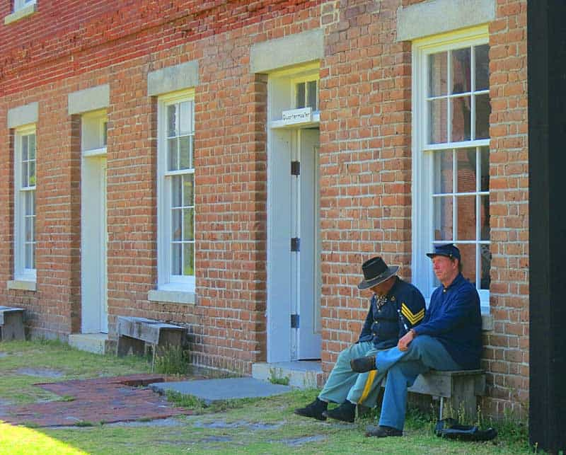 Two historical reenactors capture the Civil War period at Fort Clinch State Park. (Photo: Bonnie Gross)