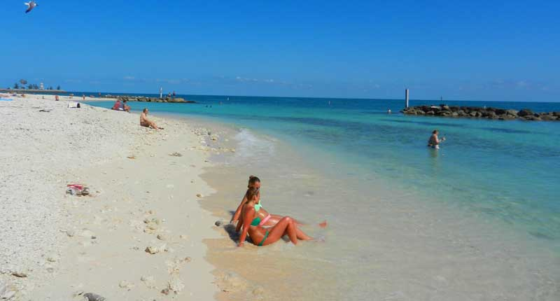 Fort Zachary Taylor Historic State Park beach is rocky but beautiful with good snorkeling.