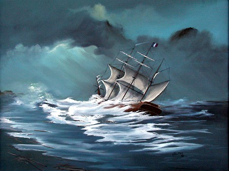 Artist's version of the sinking of the Georges Valentine in 1904.