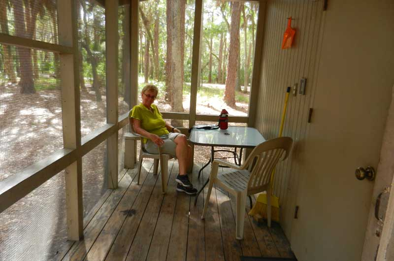 Screen porch on cabin at Hontoon Island State Park