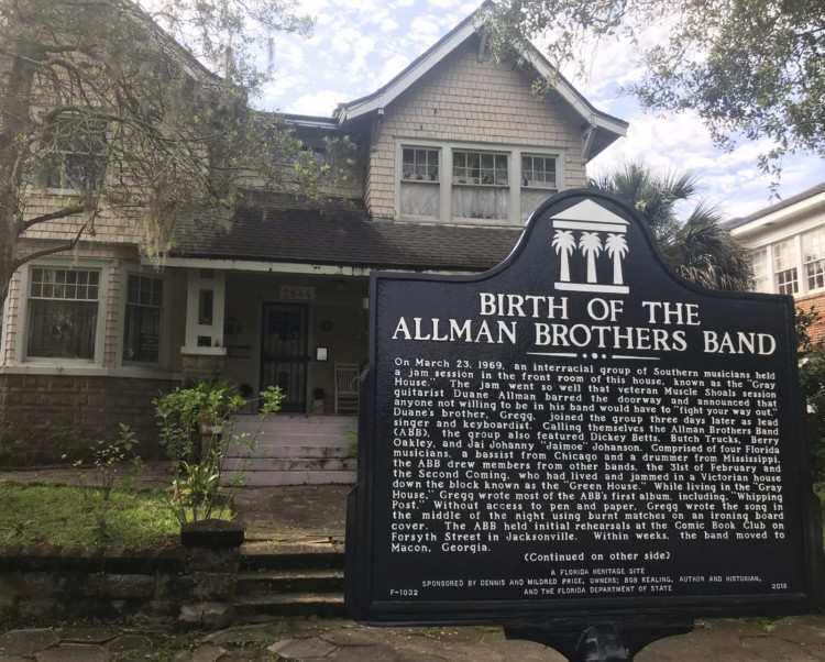 Visiting Jacksonville: As we took a walking tour of homes in the Riverside Avondale Park historic district, we stumbled on this marker for the birth of the Allman Brothers band. (Photo: Bonnie Gross)