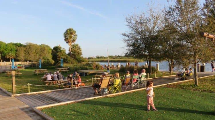 At Jiggs Landing on the Braden River, families enjoy the sunset to live music each evening. (Photo: David Blasco)