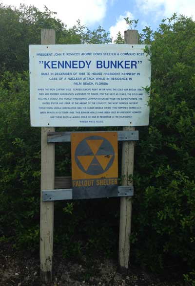 At the entrance to the bunker is a the fallout shelter sign, which will be familiar to Baby Boomers.