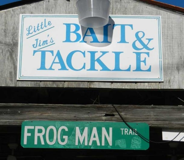 Little Jim's Bait & Tackle sign on scenic drive along the Indian River Lagoon