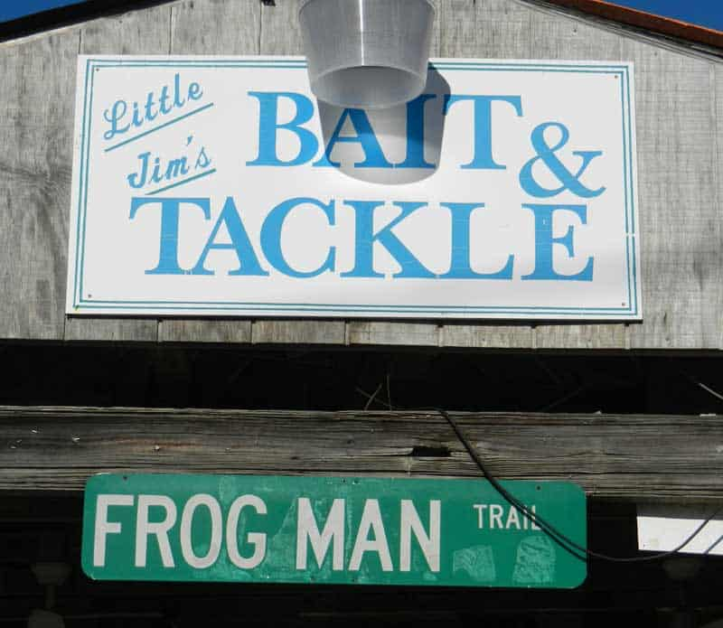 Little Jim's Bait & Tackle sign on scenic drivealong the Indian River Lagoon