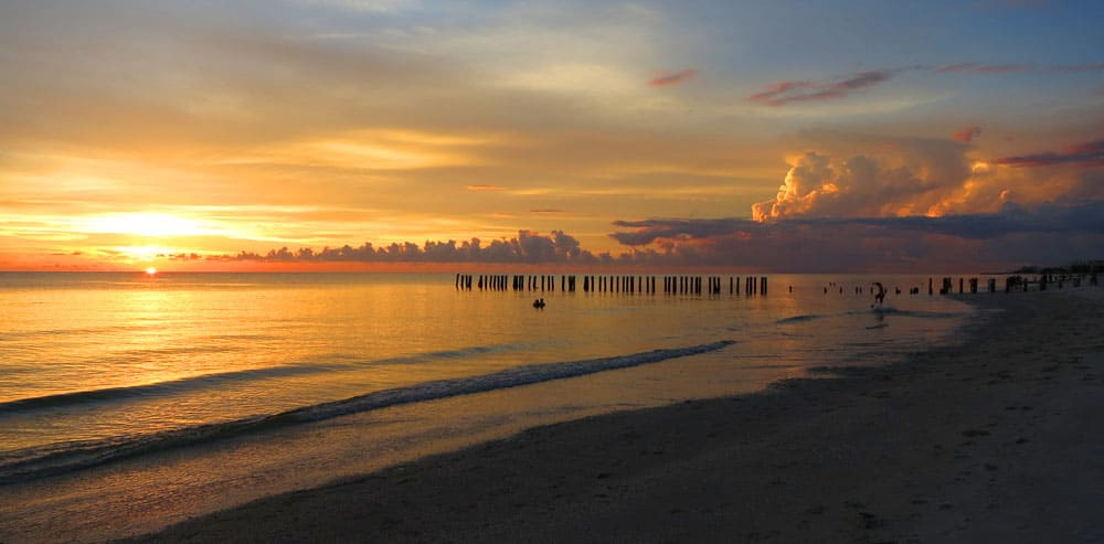 What to do in Naples Florida? This sunset at the beach is a place to start.