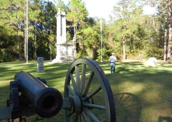 There are several monuments at Olustee Battlefield State Historic Park: The largest Confederate one was erected in 1912 before a crowd of 4,000 including many Confederate veterans. It's an imposing tower that looks like part of a castle