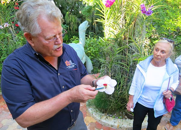 Robert Fuchs, owner of the award-winning R F Orchids in the Redland, gives free tours on weekends when he is in town. (Photo: Bonnie Gross).