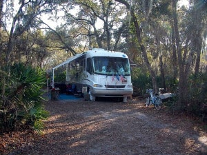 Typical campsite at Oscar Scherer State Park
