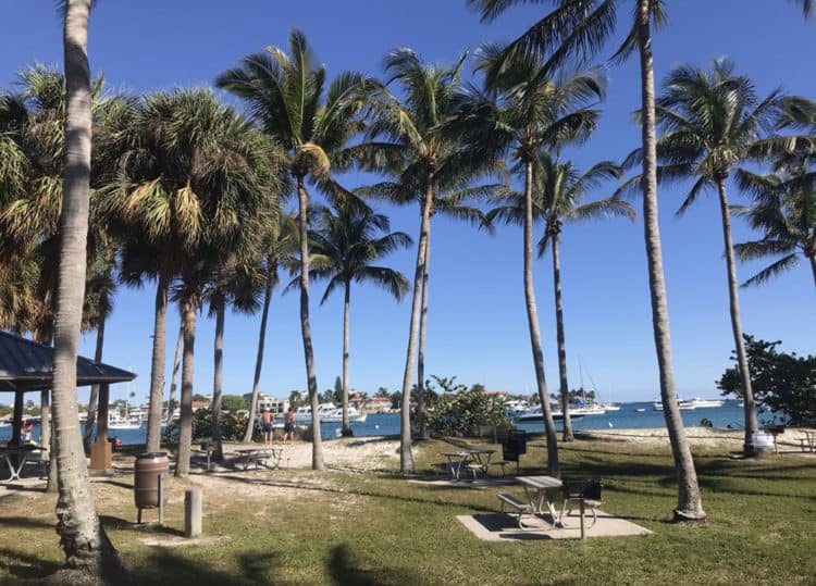 Peanut Island has many picnic tables, most with great views of the water; others under chickee hut shelters. (Photo: Bonnie Gross)