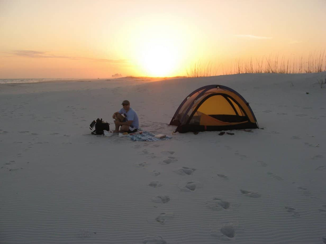 Beach camping at Gulf Islands National Seashore