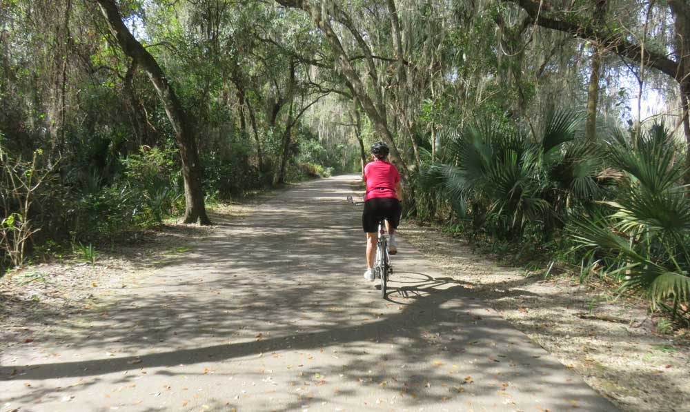 Spring to Spring Bike Trail in Central Florida: This shaded section is near Green Spring in Enterprise.