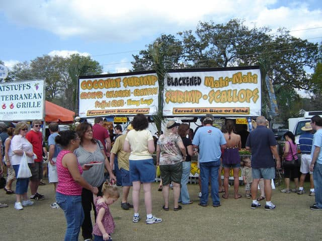 Food booths at the St. Augustine Lions Club Seafood Festival