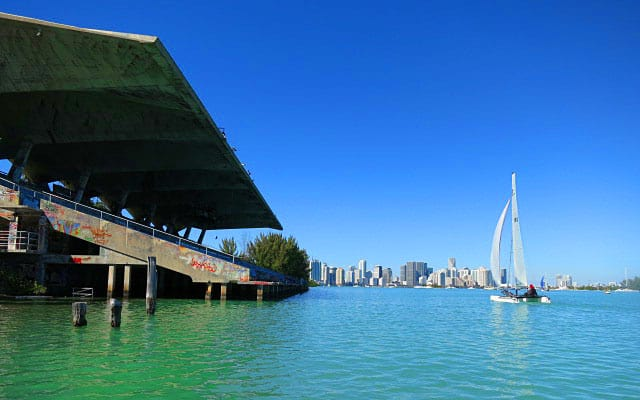 Two highlights of a Virginia Key kayak trip: Close up with the Miami Marine Stadium and Miami's stunning skyline.