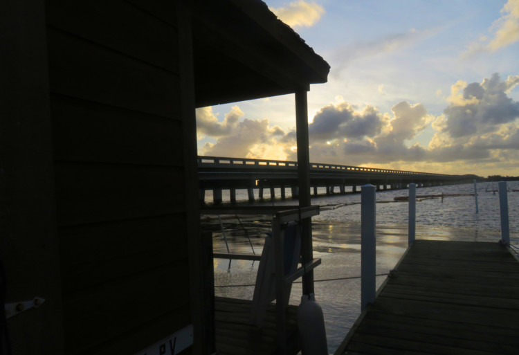 The houseboats at Old Wooden Bridge fish camp face east, but the view was beautiful at sunset from our houseboat nonetheless. (Photo: David Blasco)