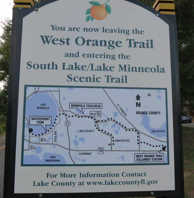 At the west end of the West Orange Trail, you can continue on along the the South Lake and Lake Minneola Scenic Trail.