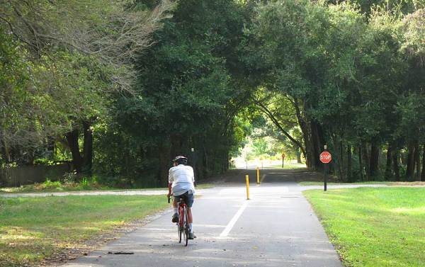 Several sections of the West Orange Trail pass through a tree canopy.