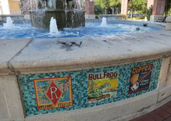 Things to do in Winter Garden: The colorful downtown fountain gets its colorful mosaic designs from historic citrus-box labels. (Photo: Bonnie Gross)