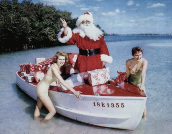 xmas santa with girls Nostalgic images from Old Florida holidays, thanks to a master photographer