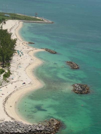 The beach from the air at Fort Zachary Taylor Historic State Park.